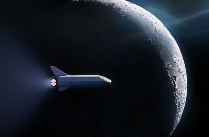 Rakieta lecąca koło księżyca