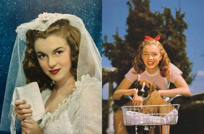 Dziewczyna w sukni ślubej i dziewczyna na rowerze