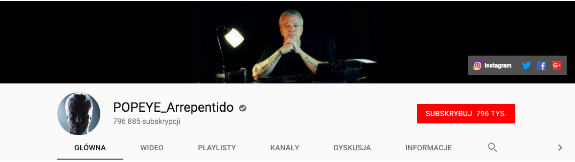 Zrzut ekranu z profilu Popeye arrepentido na którym widać 792 tys. subskrypcji