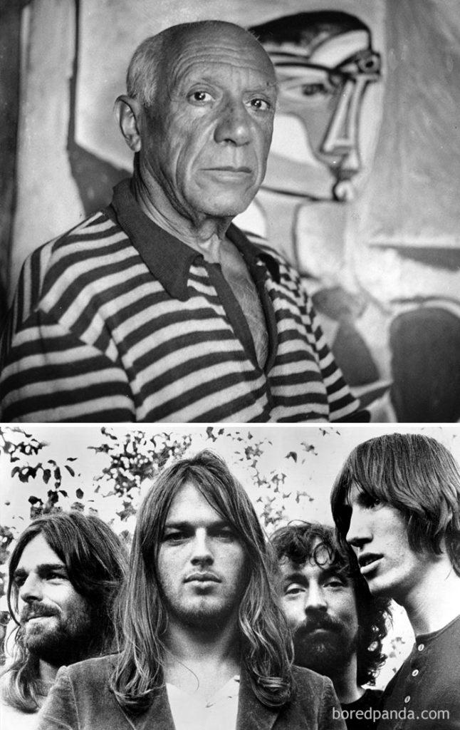 Czarno-biały portret mężczyzny i zespół