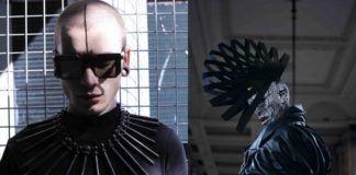 Dwa zdjęcia przedstawiające ekstrawaganckie stroje