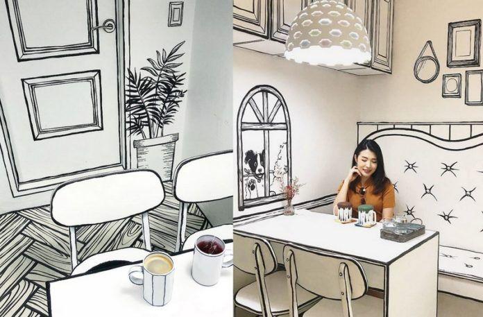 Wnętrze kawiarnii, które wygląda jak narysowane