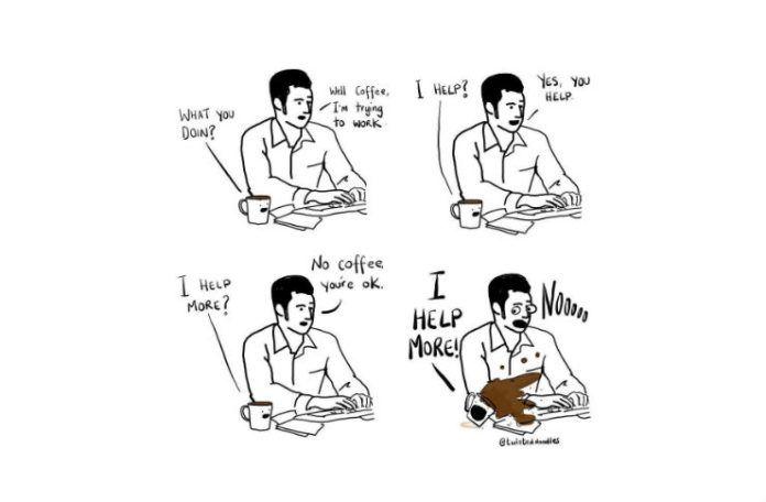 Komiks przedstawiającyy człowieka i kawę