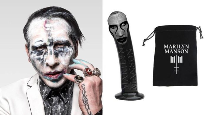 po lewej marilyn manosn w mocnym białym makijażu, po prawej czarne dildo z jego wizerunkiem i pokrowiec