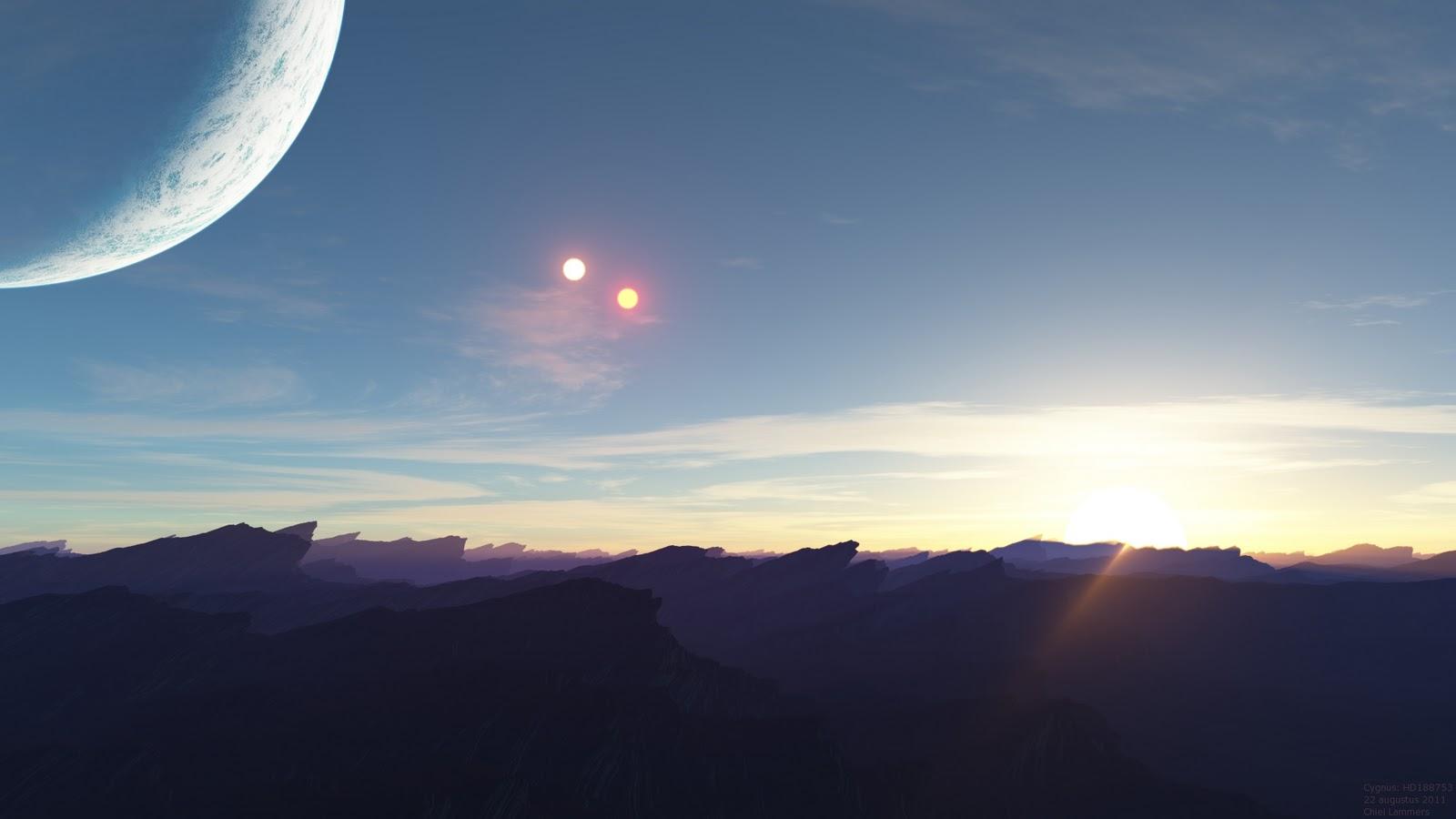 wizualizacja zachodu trzech słońc
