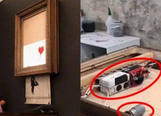 Obraz Banksy'ego i wnętrze ramy obrazu