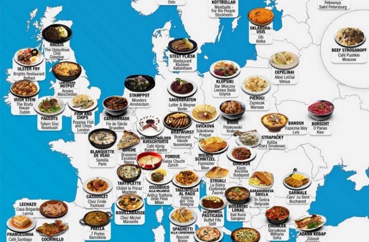 Mapa Europy z jedzeniem