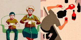 Ilustracja przedstawiająca chłpca z padem do konsoli i babci z drutami, obok mężczyzna leżacy na stole