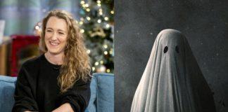 Kobieta w czarnej bluzce i duch