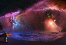 kosmonauta z deską surfingową stojący na brzegu zatoki, niebo w stylu galaxy