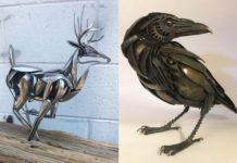 Rzeźby zwierząt ze sztućców