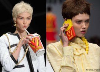 Kobiety na wybiegu z elementami zainspirowanymi McDonalds