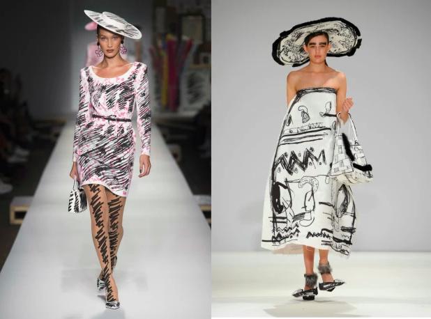 Dwie kreacje, białe sukienki wymazane czarnym markerem w abstarkcyjne wzory. Duże kapelusze z rondem wyglądające jakby były z papieru