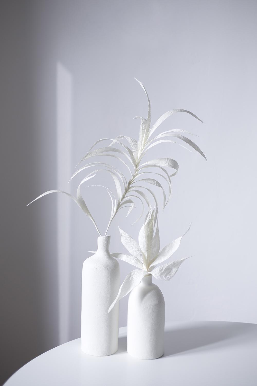 Dwa biale bubilkowe kwiaty na tle bialej sciany
