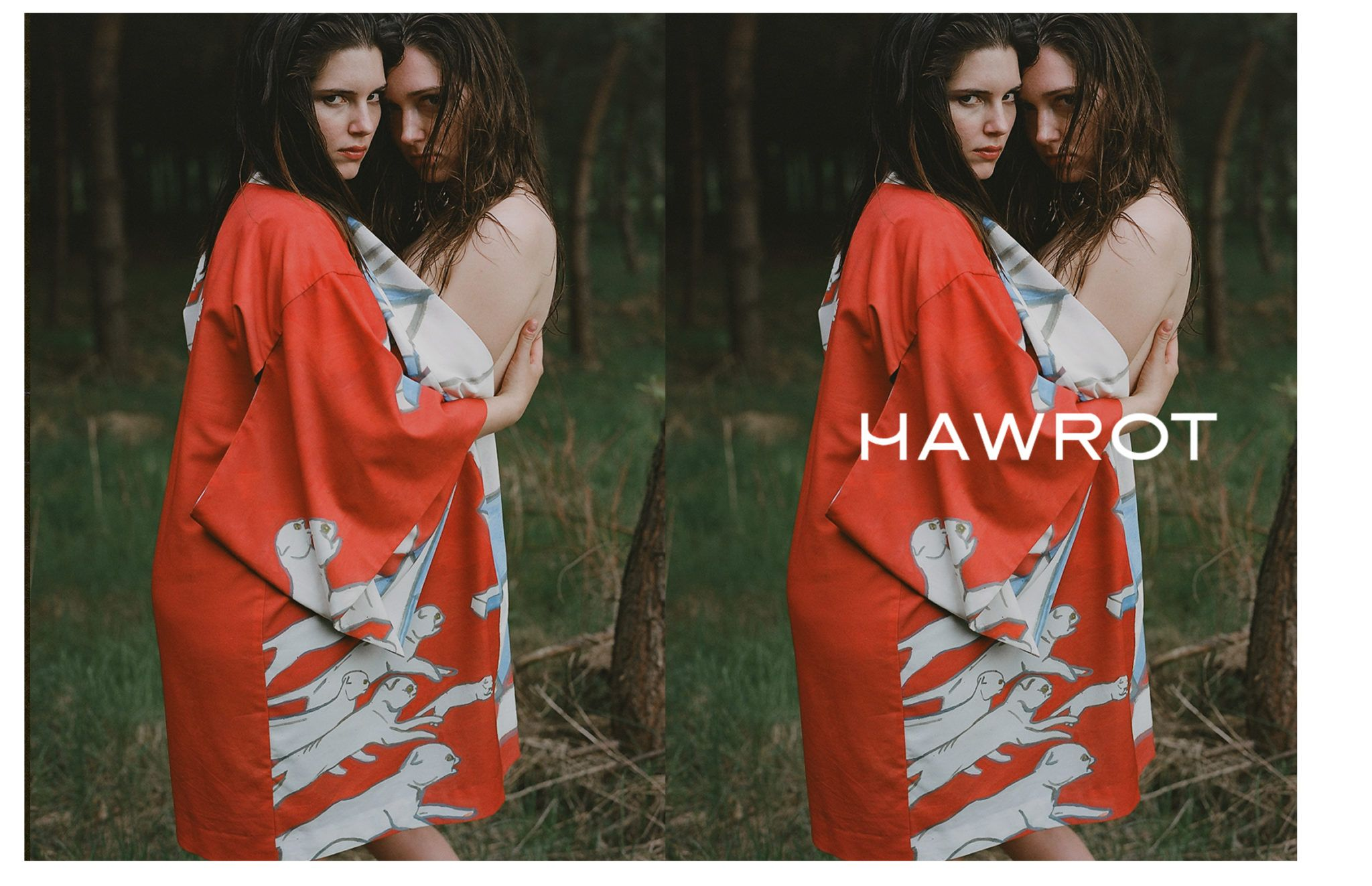 Dwa zdjecia polaczone w jedno w lesie dwie dziewczyny stoja przytulone opatulone jednym kimonem