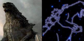 Wielka jaszurka i gwiazdy ułożone w kształt jaszczurki