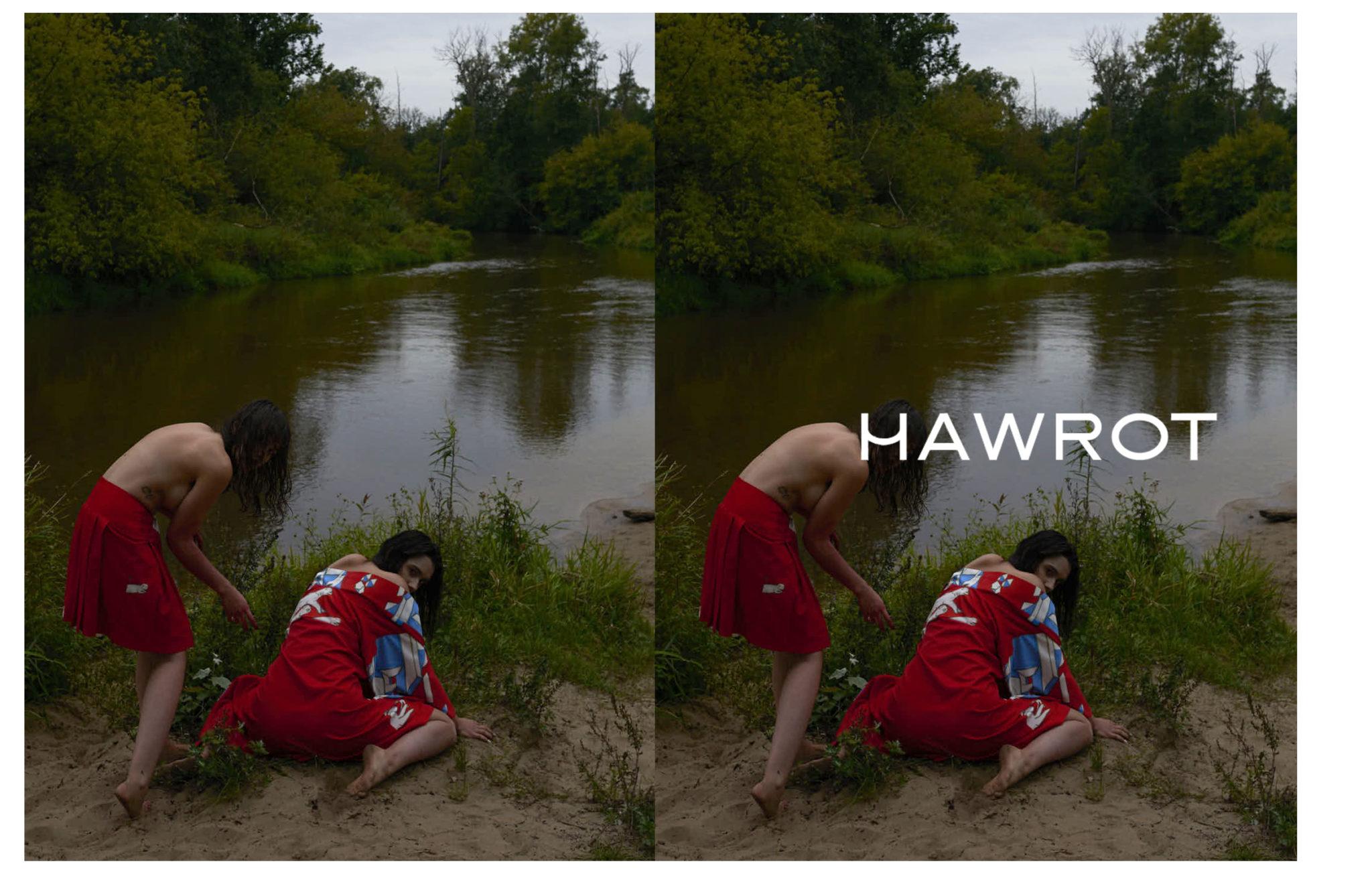 Jedno zdjecie polaczone dwoma dwie dziewczyny nad jeziorem w czerwonych kimonach przypominajace wampiry