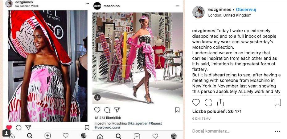 Porównanie kreacji z kolekcji Moschino SPRING 2019 a Eddy Gimnes . Dwie fotografie, ta na lewo z sesji zdjęciowej, prawa z pokazu. Abstrakcyjne ubrania, jasne kadry.