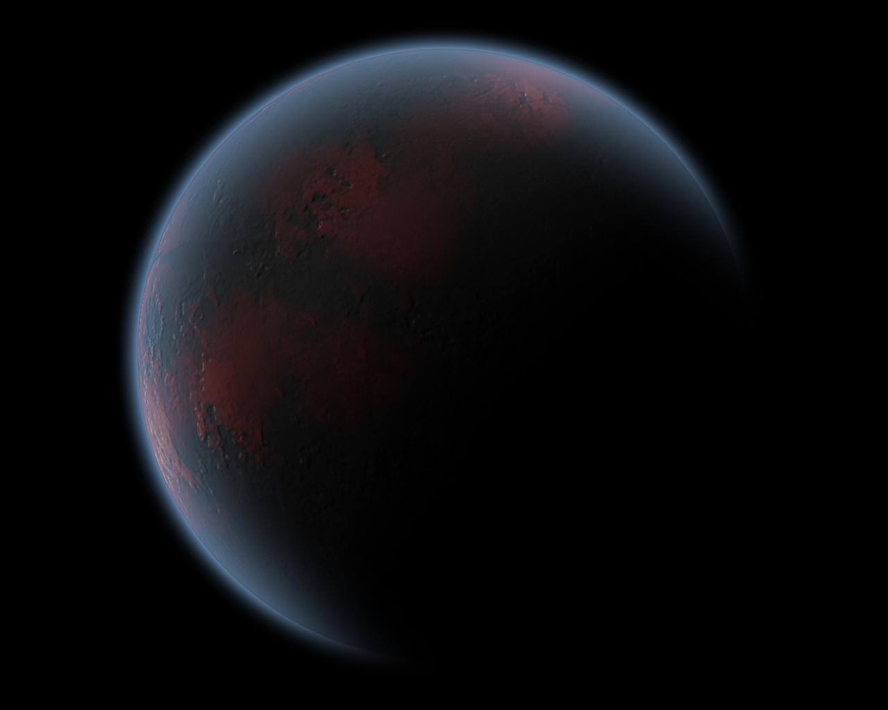 wizualizacja ciemnej planety o czerwonym zabarwieniu