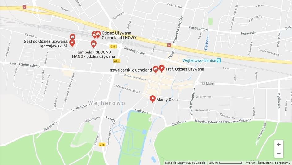 mapa przedstawiająca rozmieszeczenie sklepów z odzieżą używaną w Wejherowie
