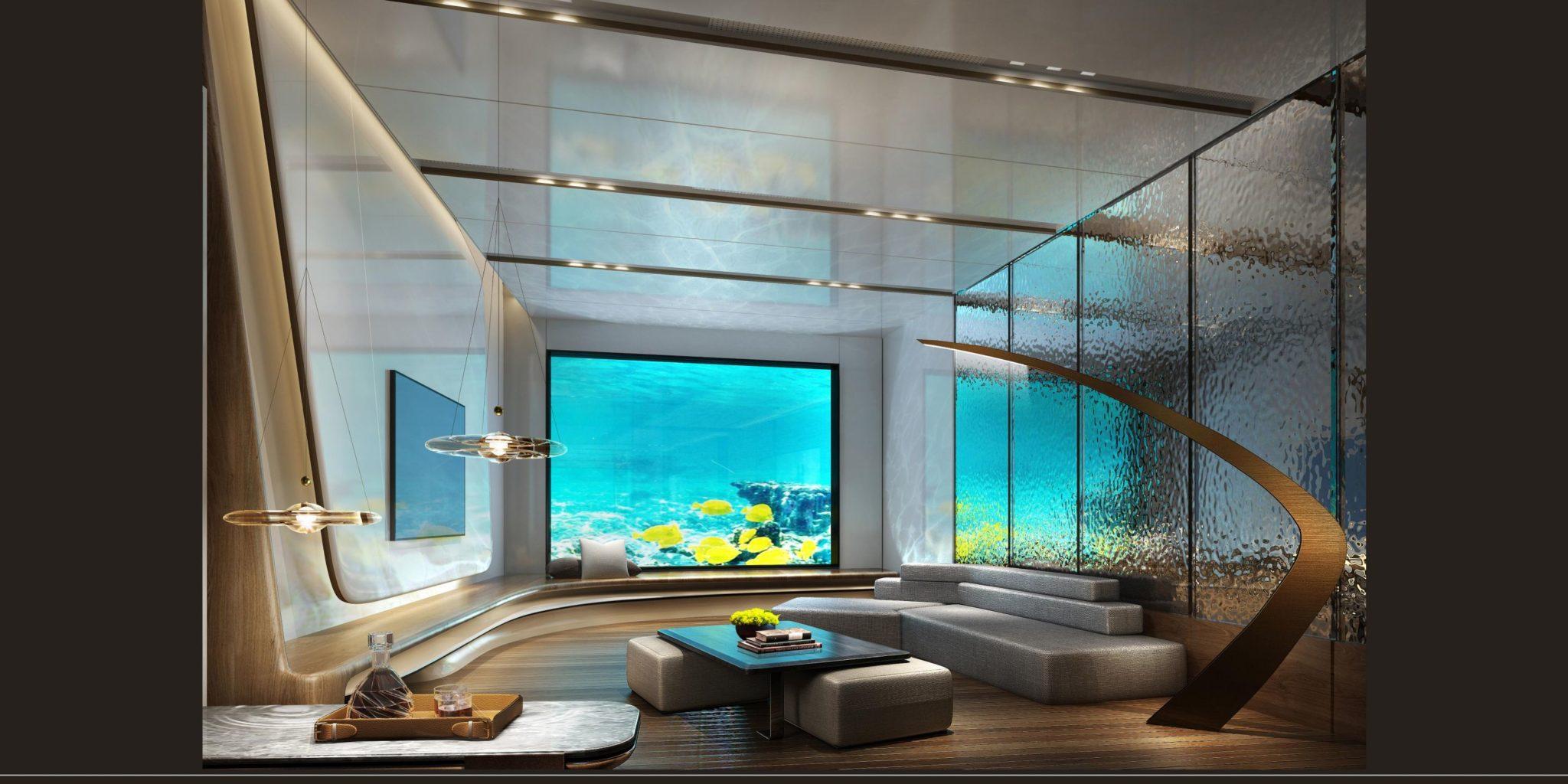 Podwodna sala z widokiem na akwarium