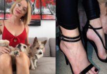 Kobieta z dwoma psami i buty na obcasie