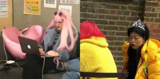 Dziewczyna w różowych włosach przy komputerze i dziewczyna w żółtej kurtce i koronie