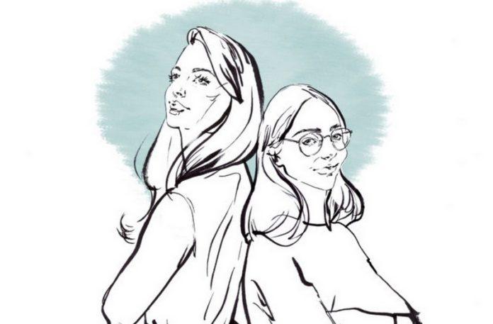 ilustracja dwoch dziewczyn szkic czarnobialy jedna wyzsza druga nizsza oparte o siebie plecami nad ich glowami mietowa aureola