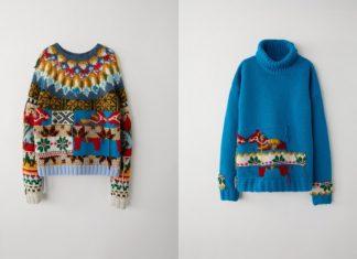 Robione na drutach dwa, kolorowe swetry