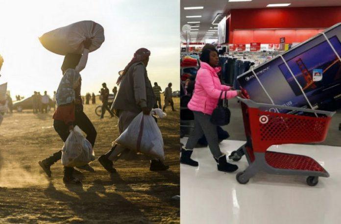 Zdjęcie przedstawiające kontrast między biednymi i bogatymi