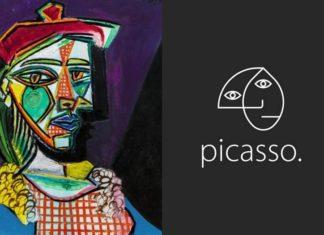 Obraz Pabla Picasso i jego logotyp na czarnym tle