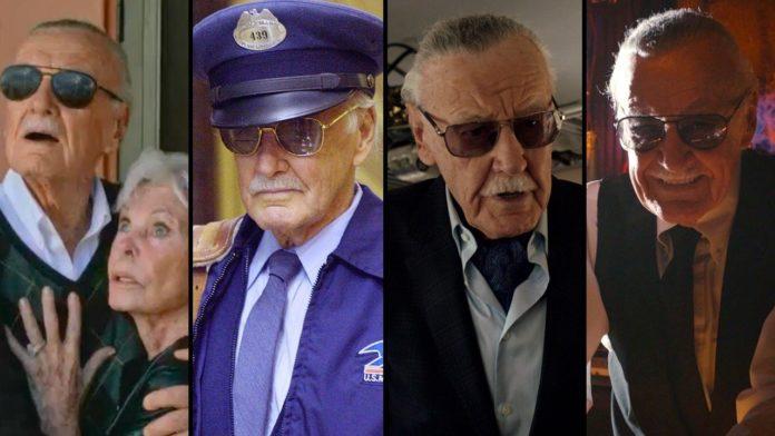 Mężczyzna w czterech różnych kadrach z filmów