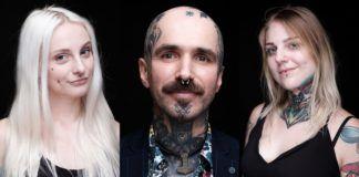 Trzy portrety osób z tatuażami na czarnym tle
