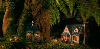Miniaturowe domki w lesie