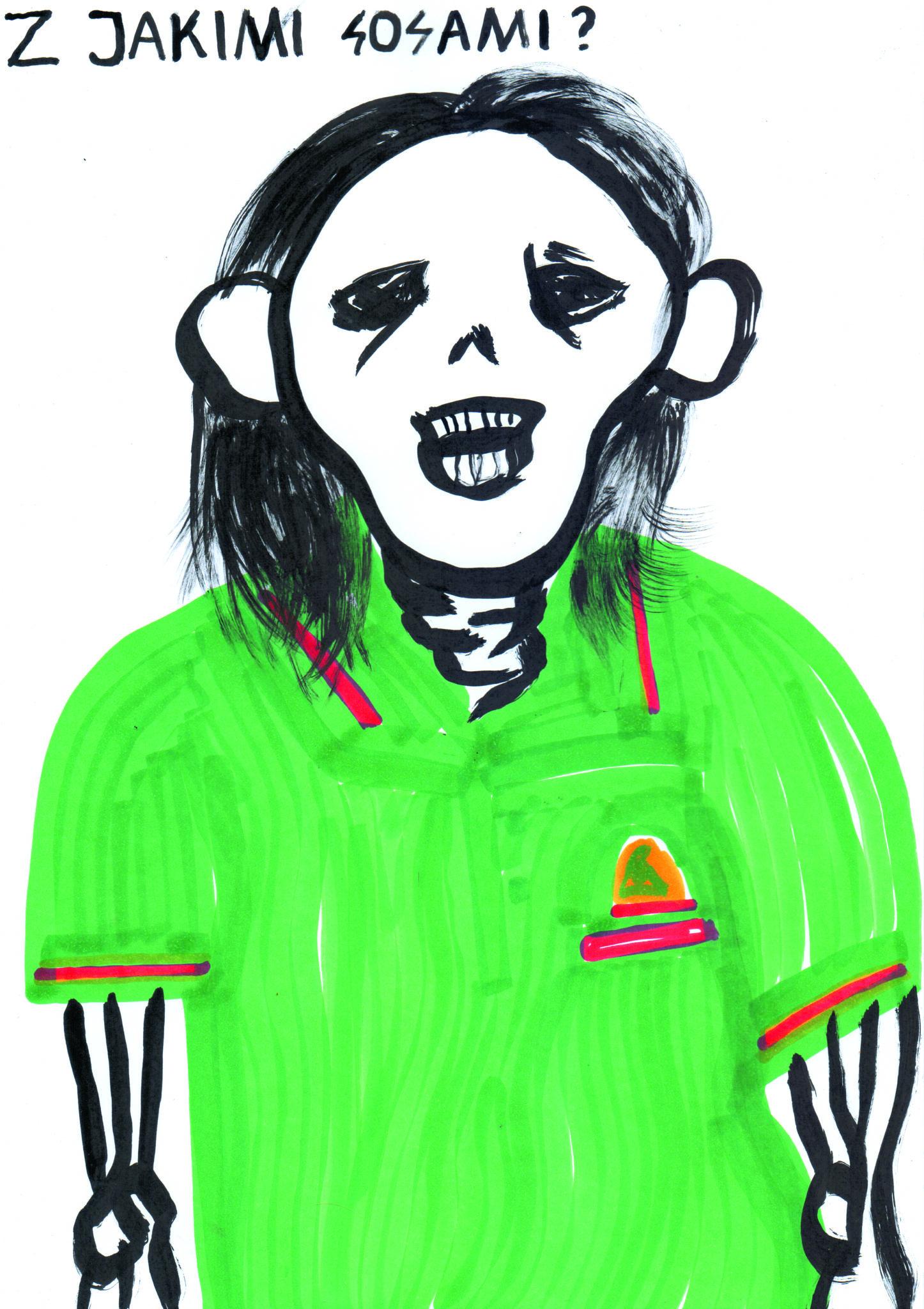 Ilustracja w barwach zieleni i czerni na bialej kartce