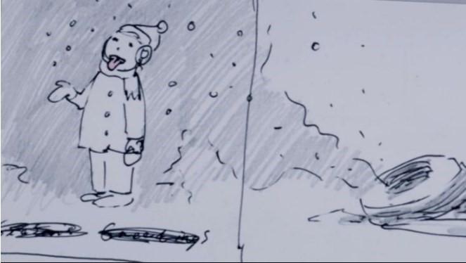 Rysunek Banksy'ego przedstawiający dziecko łapiące śnieg na język