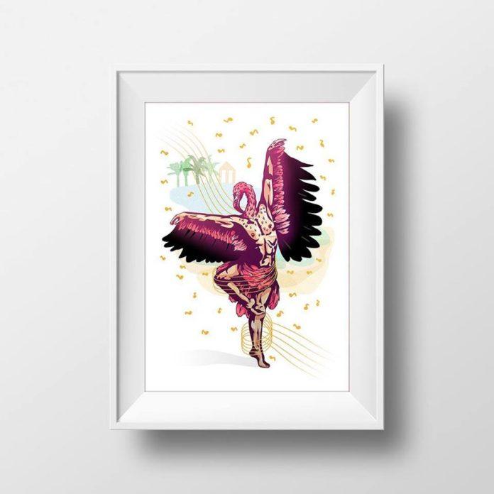 Plakat przedstawiający pół człowieka - pół ptaka