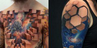 Dwa trójwymiarowe tatuaże
