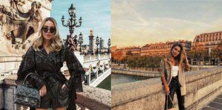 Dwa zdjęcia dziewczyny w Paryżu