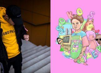 Chłopak ze spuszczoną głową w zółtej bluzei i grafika EPki