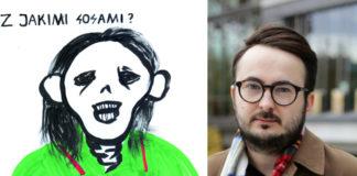 Grafika przedstawiająca postać w zielonej koszulce i mężczyzna w szaliku