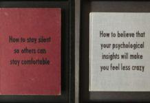 Dwie okładki książek - czerwona i biała z czarnymi napisami