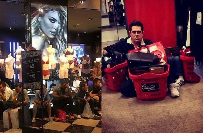 Dwa zdjęcia przedstawiające mężczyzn na zakupach z kobietami