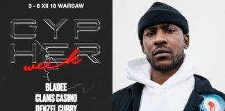 Czarnoskóry mężczyzna i plakat Cypher week