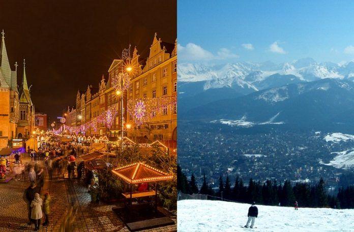 Widok Wrocławia i Zakopanego zimą
