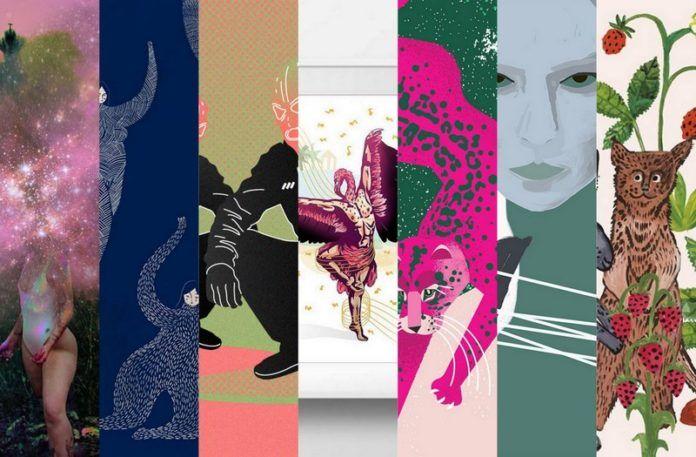 7 ilustracji połączonych w kolaż