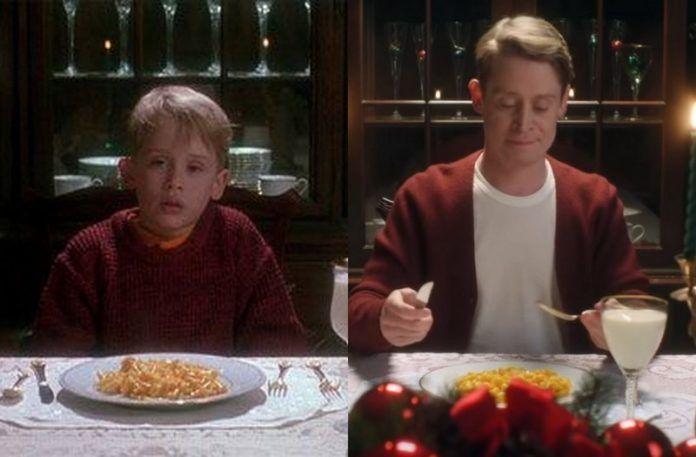 Mały chłopiec i dorosły mężczyzna przy stole