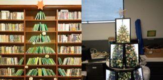 Choinka z książek i monitorów
