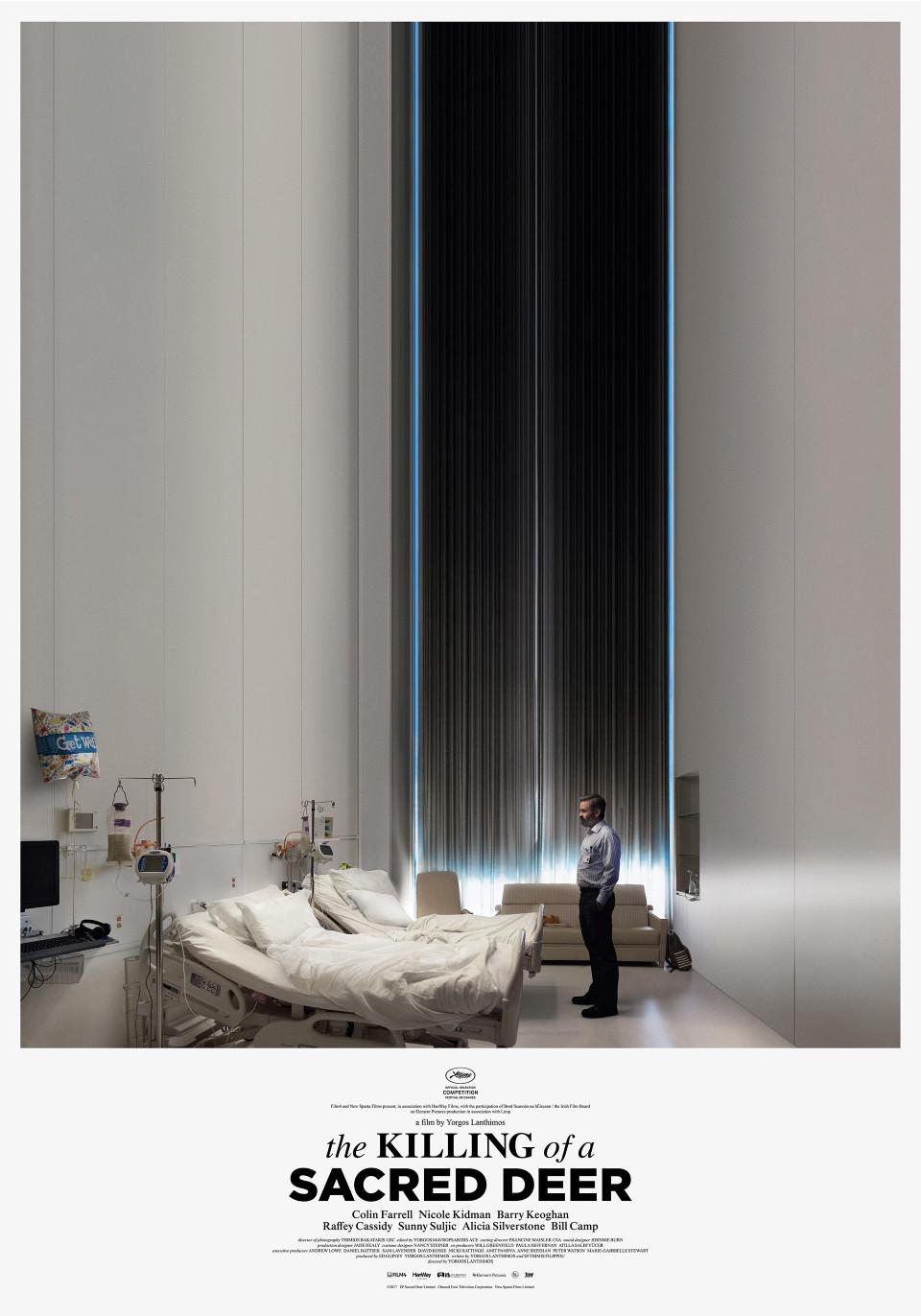 Plakat przedstawiający mężczyznę stojące w szpitalnym pokoju
