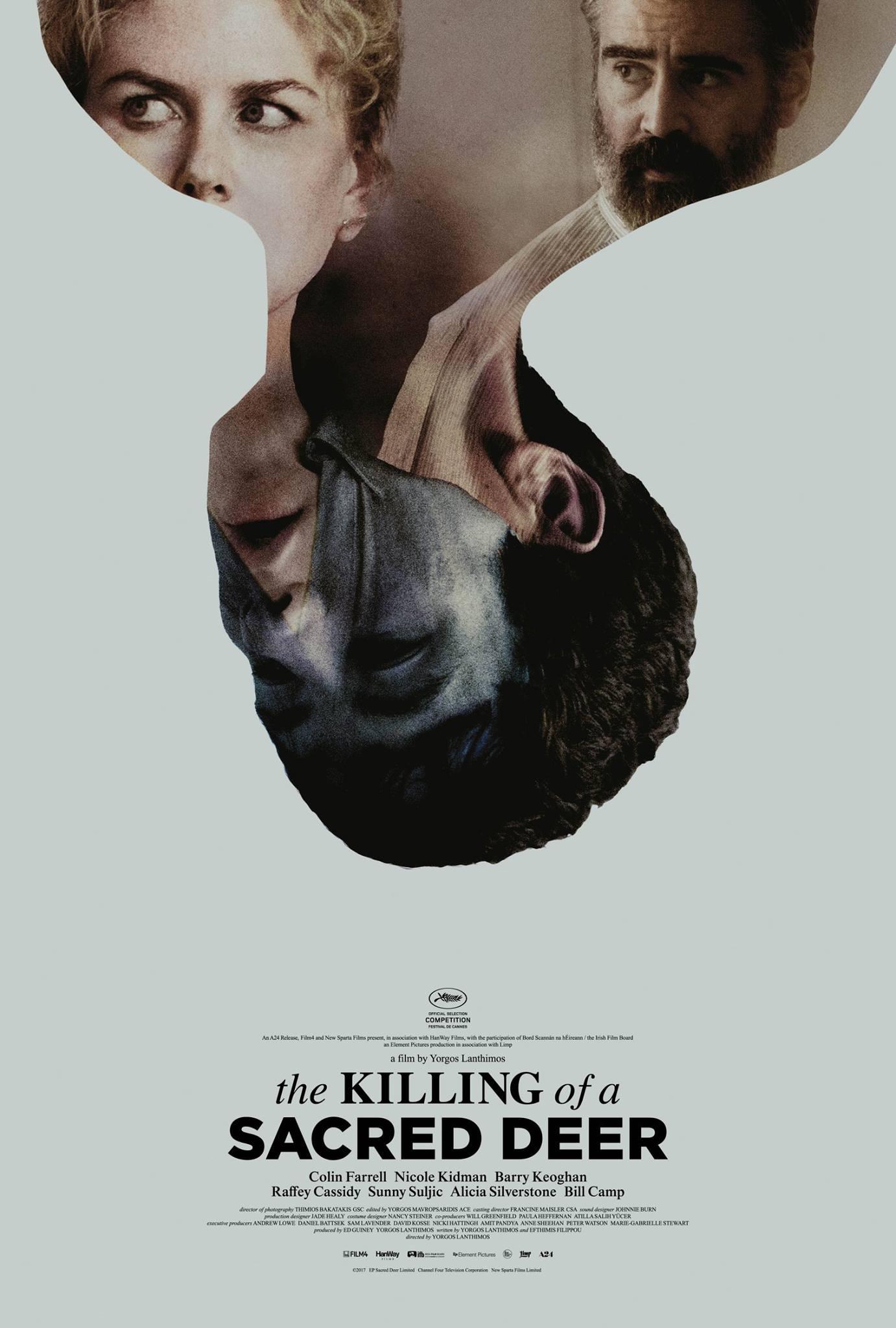 Plakat przedstawiający głowę kobiety w której dzieje się scena filmowa